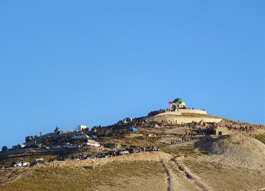 The Teqe shrine at the top of Mount Tomori