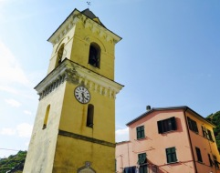 The Manarola clock-tower with its off-center clock.