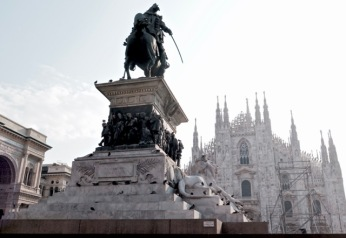 Piazza de Duomo with its statue of King Victor Emmanuel II, the first king after the unification of Italy in the 1860s.