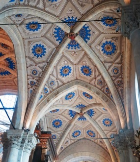 Ceilings inside the Como Duomo. Building began in the Middle Ages and was completed in the mid-1700s.