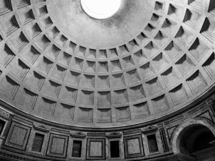 The dome of the Pantheon, an engineering marvel of great beauty dating from 27 B.C.E