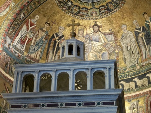 Mosaics fill the apse of the church.